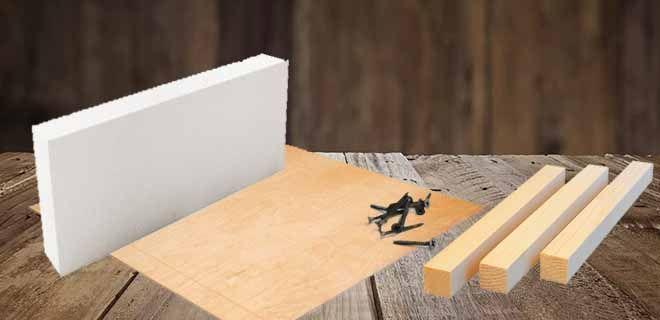 Лист фанеры, блок пенопласта, бруски из дерева, саморезы
