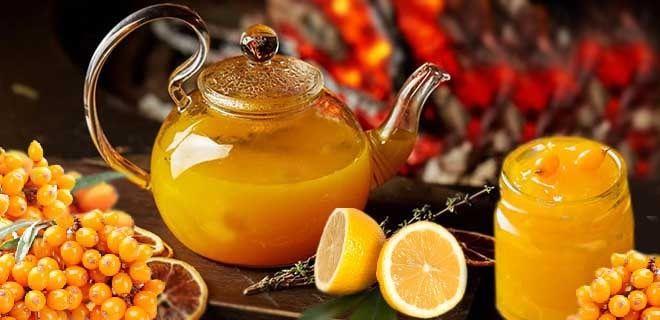 Чай с облепихой, медом и лимоном