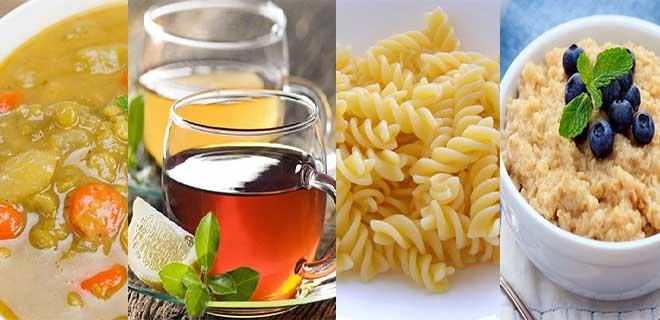 Овощные супы, каши, макароны, слабый чая
