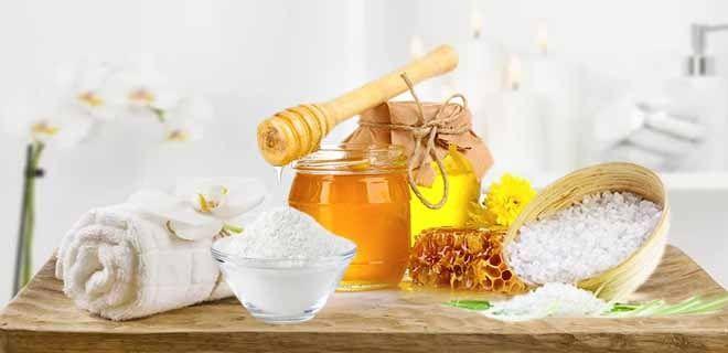 Скраб из меда и соды морская соль
