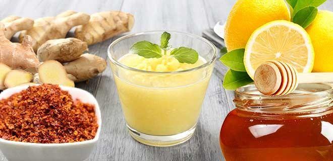 Коктейль имбирь, лимон и мед с перцем