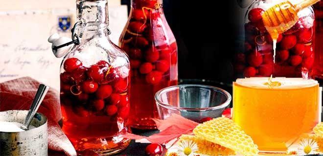 Настойка на водке с медом и клюквой